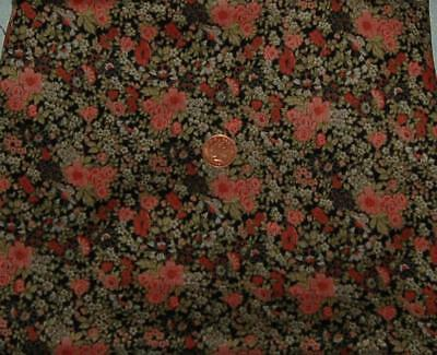 """Remnant Vintage Cotton Fabric 36""""x 30"""" Ditsy Floral Craft Sewing Dolls c1970s"""