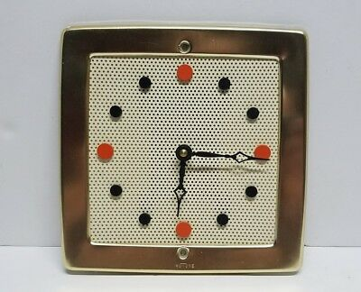 Vintage Mid-Century NuTone Atomic L-35 Perforated Metal Wall Clock Without Chime
