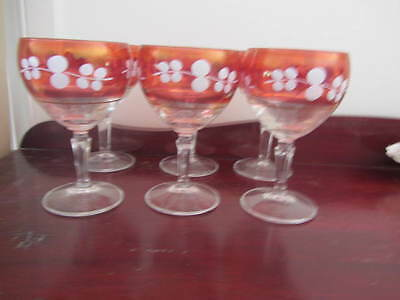 Vintage Set Of 6 Ruby Trim Wine Goblets / Glasses