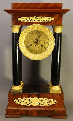 Ca. 1840 Antique VICTORIAN Era ITALIAN Gilt ORMOLU & COLUMNS Old PORTICO CLOCK