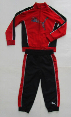 Kids Puma Sport 2 Piece Set, New Blk Red White Atletic Outfit Pants & Jacket 3T