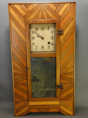 19thC Antique TRAMP ART Style MARQUETRY INLAID Old WOOD Inlay FOLK ART CLOCK
