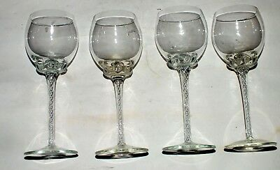 4 Air Twist Wine Crystal Stem Glass Bell Shaped Goblet Rare