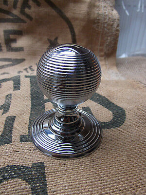 Beehive Chrome Door Knob Handle, Vintage Reeded Queen Anne Style, Solid Brass