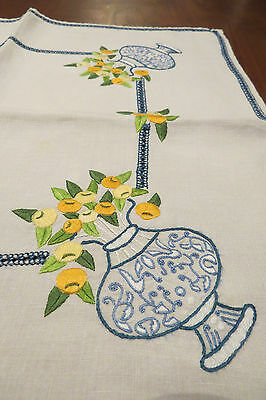 """Beautiful Vintage Embroidered Tablecloth Vases Filled w/ Flowers 15 1/2"""" x 34"""""""