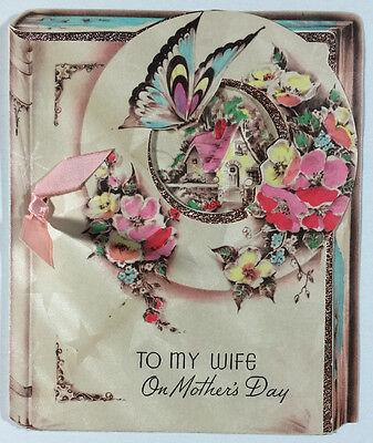 Vintage Mother's Day Greeting Card To My Wife 1939 Beautiful Book Design Flowers
