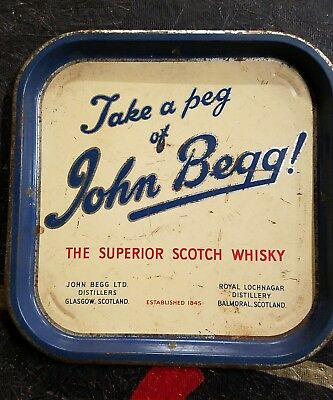 John Begg Scoth Whisky tin advertising tray, rare - can't find any others