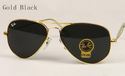 Rayª Banª 3025 Sunglasses Aviator Style Gold Frame Black Lens 58Mm