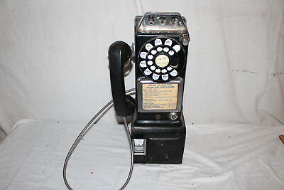 Vintage 1950's Bell Western Electric Dial Payphone Pay Phone Telephone W/Key