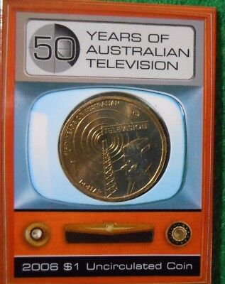 2006  (TELEVISION) ONE DOLLAR $1 (UNC) COIN RAM FOLDER - CANBERRA (C) Mint Mark