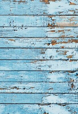 4x6FT Studio Blue Wood Wall Background Vinyl Prop Photograph Old Style Backdrop