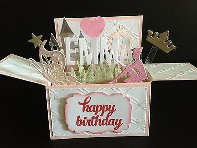 Handmade card, 3D Birthday Card in a box -  Little Princess,PERSONALISED