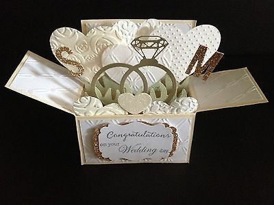 Handmade card, 3D Wedding Card in a box - Wedding rings,Personalised