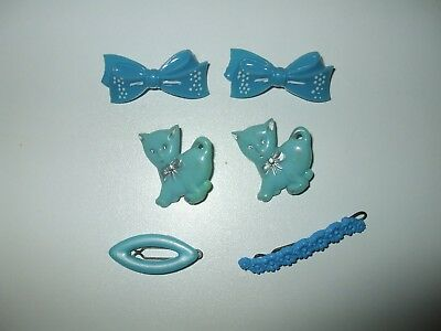 VINTAGE BLUE  HARD PLASTIC with METAL CLIP HAIR BARRETTES  CHILDS SIZE