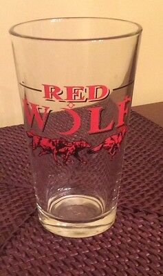 Red Wolf Beer Glass 5.75 Inches Tall Very Good