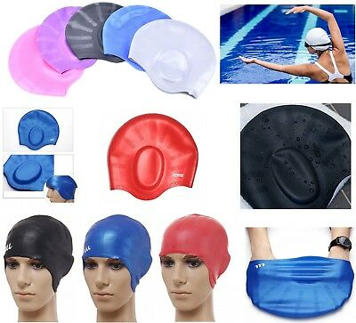 Silicone Swimming Hat Cap With Ear Pockets Long Hair Large women Ladies