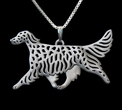 English Setter Running Dog Pendant Necklace -  Fashion Jewellery - Silver Plated