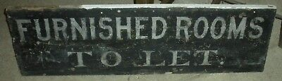 """ANTIQUE c1880 TRADE SIGN """"FURNISHED ROOMS TO LET"""" HOTEL OR BED & BREAKFAST vafo"""