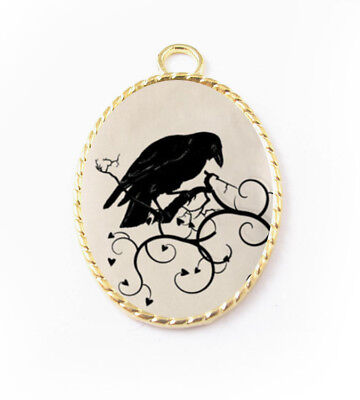 Black Raven Crows Bird Porcelain Cameo Pendant Handmade Gold Plated Jewelry