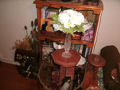 #4   VINTAGE Antique Hand Carved Wooden Pedestal Table  Plant Stand  INDIA