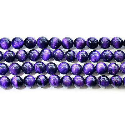 """Natural 5A Purple Tiger's Eye Stone Gemstone Round Beads 15"""" 6mm 8mm 10mm 12mm"""