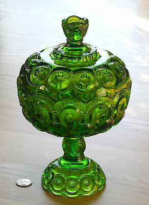 MOON & STAR glass GREEN tall covered compote CANDY DISH w/ lid L.E.Smith
