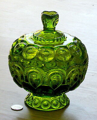 MOON & STAR glass GREEN low covered compote CANDY DISH w/ lid L.E.Smith