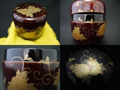 Japanese Lacquer Wooden Tea Caddy CHRYSANTHEMUM IVY makie Chu-Natsume (822)