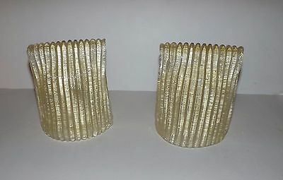 A Pair  Of Italian Murano Textured Art Glass Wall Sconce Shades Rugiadoso