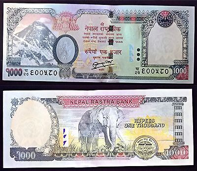 1000 Rupees Nepal Currency 2016 Printing Mt. Everest, obverse Elephant NEW UNC
