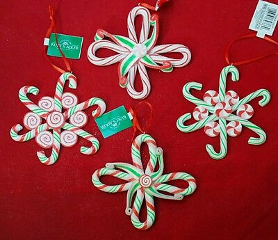 """Candy Cane White Red Green Snowflake 4"""" Claydough Ornament Set 4 Christmas"""