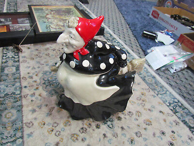 Fitz and Floyd Black & White Witch Cookie Jar With A Red Scarf - Pretty !!!!!!