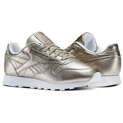 34ae3bf703ad Reebok BS7898 Men Classic leather METALLIC Running shoes gold white Sneakers