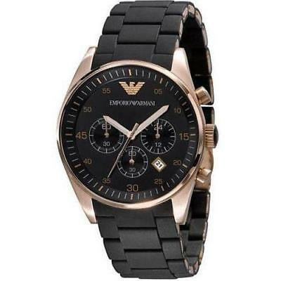 NEW EMPORIO ARMANI AR5905 Mens Watch Black Chronograph Rose Gold SPORTIVO QUARTZ
