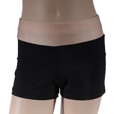 Girls Black Beige Bike Shorts, Girl's Athletics Active Dance Gymnastics Swim Run