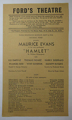 """""""Hamlet"""" Playgoer Program Flyer, Ford's Theatre, May 1946, Maurice Evans"""