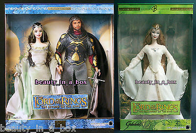 Arwen and Aragorn Lord of the Rings Galadriel Barbie Ken Doll Lot 2 Together