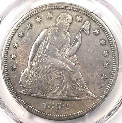 "1859-S Seated Liberty Silver Dollar $1 - PCGS XF Details - Rare ""S"" Mint Coin!"