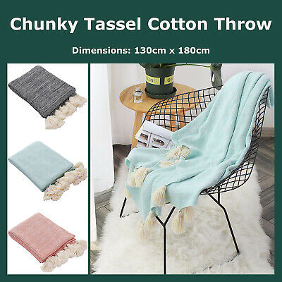 Two-Tone Tassel Knit Throw Blanket Cotton Pom Pom Corner Bed Couch Home Decor