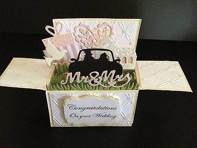 Handmade card, 3D Wedding Card in a box -Bridal car