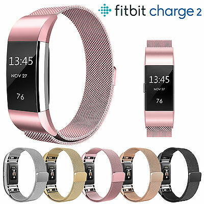 Magnetic Watch Band Milanese Gold Stainless Steel loop Strap For Fitbit Charge 2