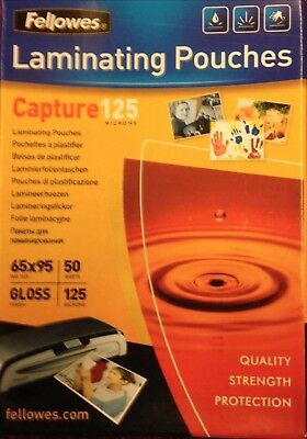 100 Fellows  Captures 125 Micron 65x95 Laminating Pouches FREE P&P