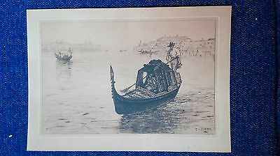 Thomas Charles Farrer 1838-1891 USA Pre-Raphaelit orig etching 1885 Venice sign