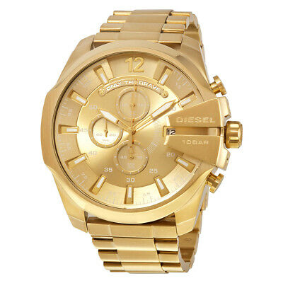 Diesel DZ4360 Gold Tone Stainless Steel Chronograph Mega Chief Men's Wrist Watch