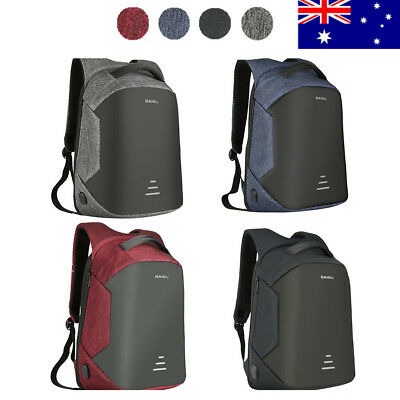 "AU Waterproof External USB Charge Backpack Anti-theft Bag For 15.6"" Inch Laptop"