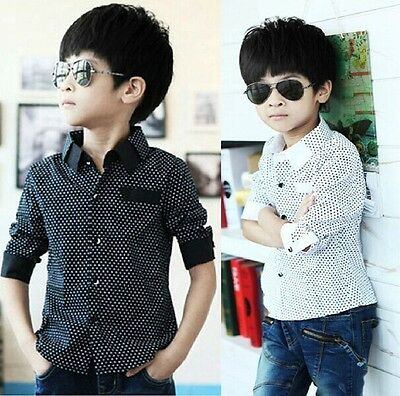 Boys Shirt Toddler Kids Age 3-8 years New Formal Party Wedding Long Sleeve Tops