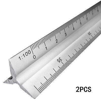 "2 30cm 12"" Metric Triangular Aluminum Scale Engineering Measuring Ruler 1:20-100"