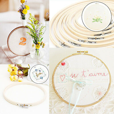 8Size Wooden Cross Stitch Embroidery Circle Hoop Ring Frame Craft DIY Needlework
