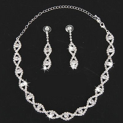 Fashion Bridal Wedding Jewelry Kit Crystal Rhinestone Diamant Necklace Earrings