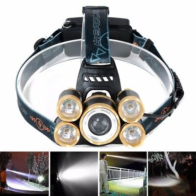 80000LM 5x XML T6 LED Rechargeable 18650 Zoom Headlamp Head Light Torch Hunting